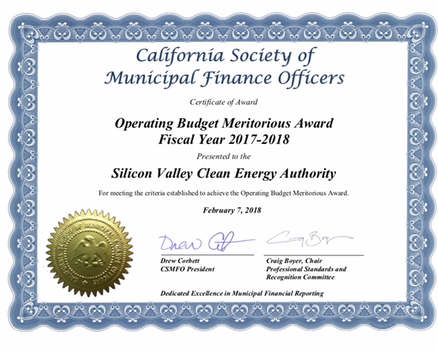 certificate - California Society of Municipal Finance Officers