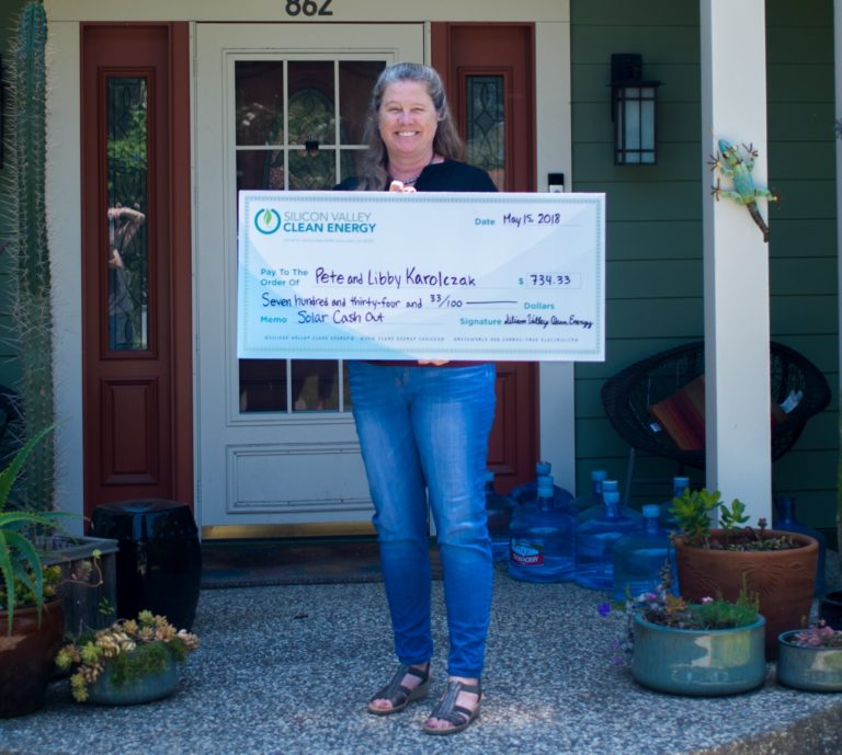 Solar Cash out check to Pete and Libby from Los Altos
