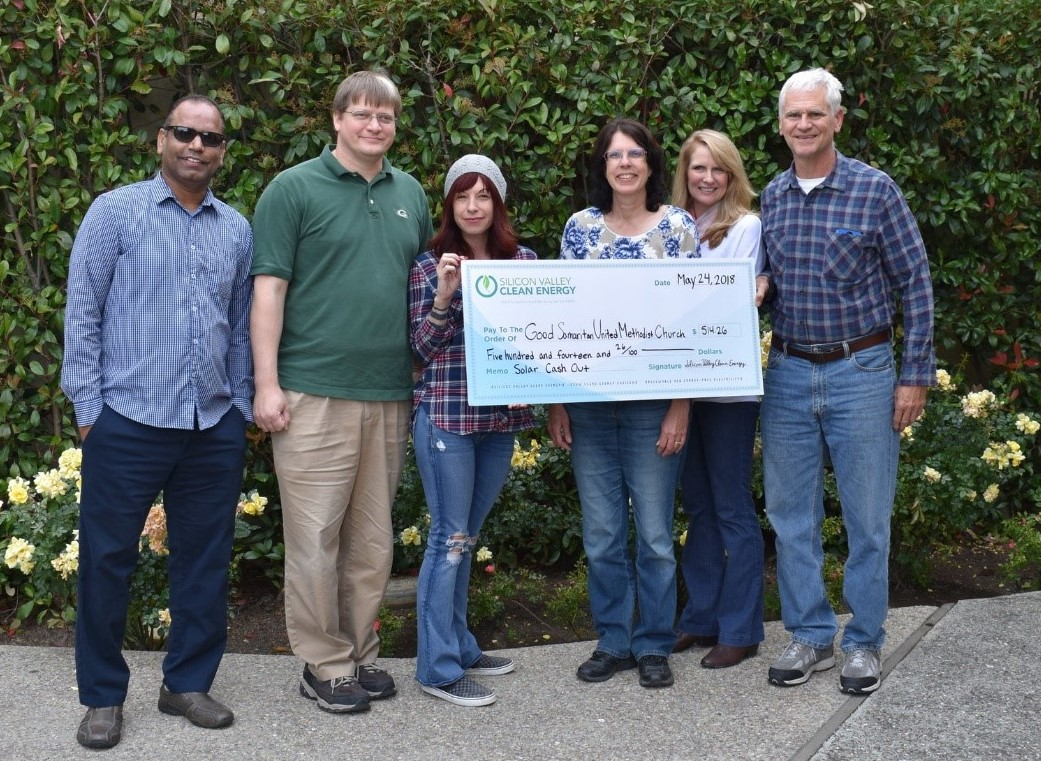 Solar cash out check to Good Samaritan