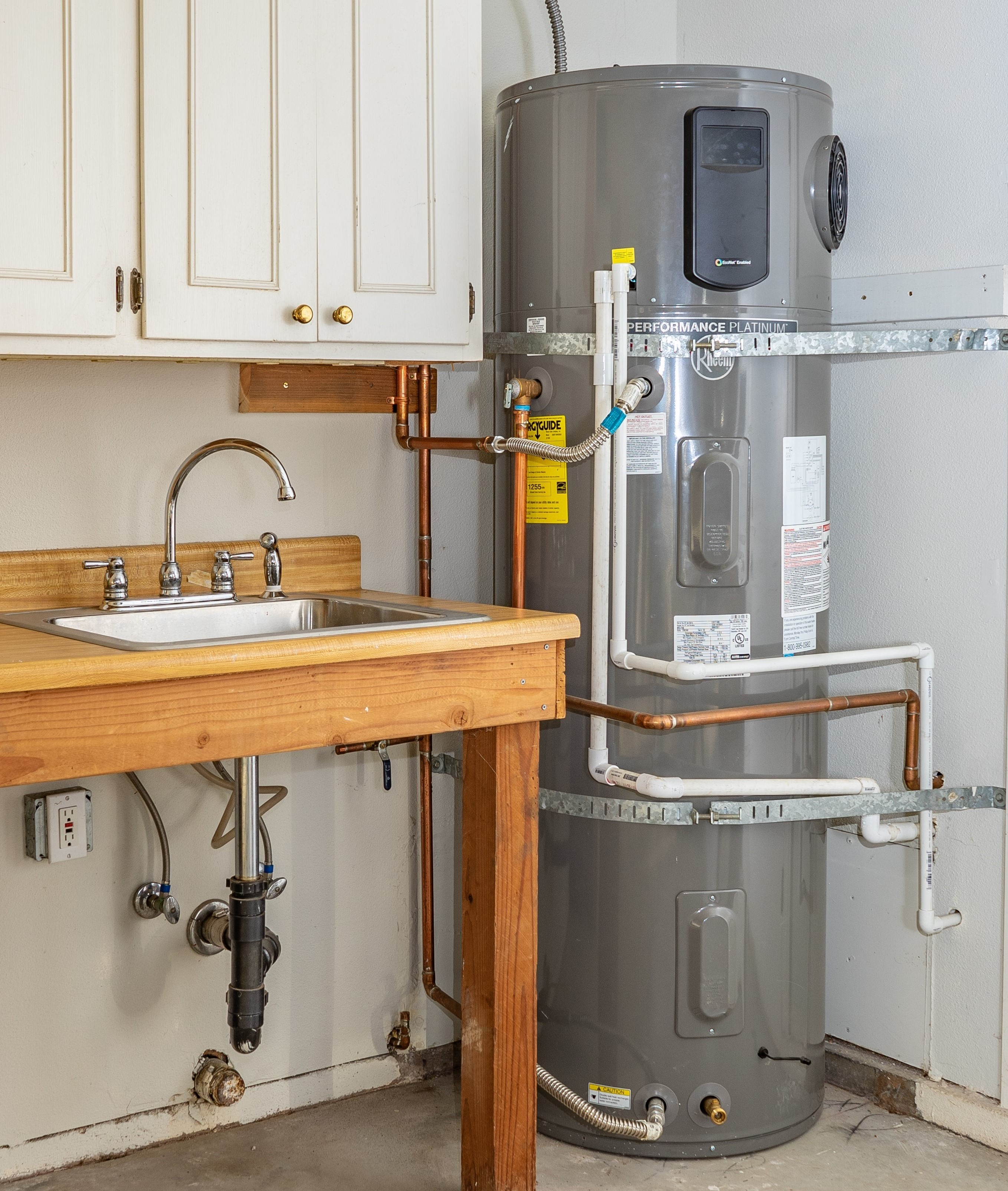 heat pump water heater in garage