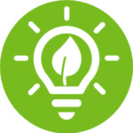 light bulb icon with leaf